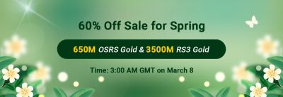 RSorder 60% off Sale for Spring 2021: RSorder will offer totally 650M OSRS gold & 3500M RS3 gold (50 portions of 13M OSRS gold and 70M RS3 gold) with 60% off at 3:00 a.m. GMT on March 8th, 2021. Visit activity page: https://www.rsorder.com/x-off-sale.
